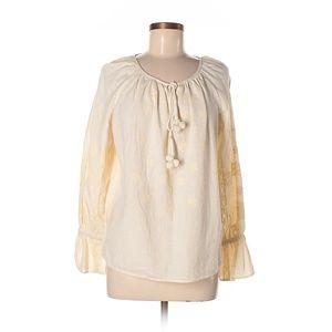 Zara Size S Embroidered Cream Cotton Peasant Top